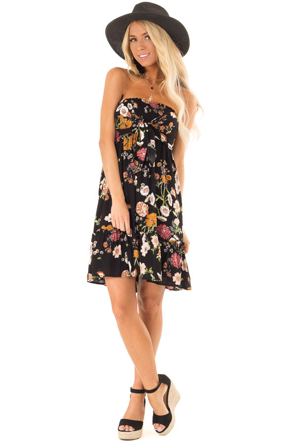 Midnight Black Floral Smocked Mini Dress with Knot front full body