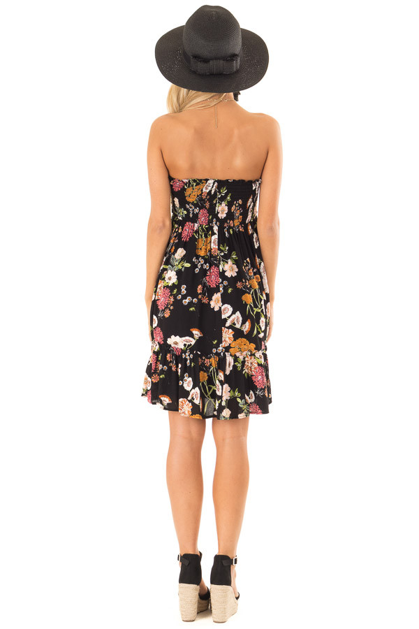 Midnight Black Floral Smocked Mini Dress with Knot back full body