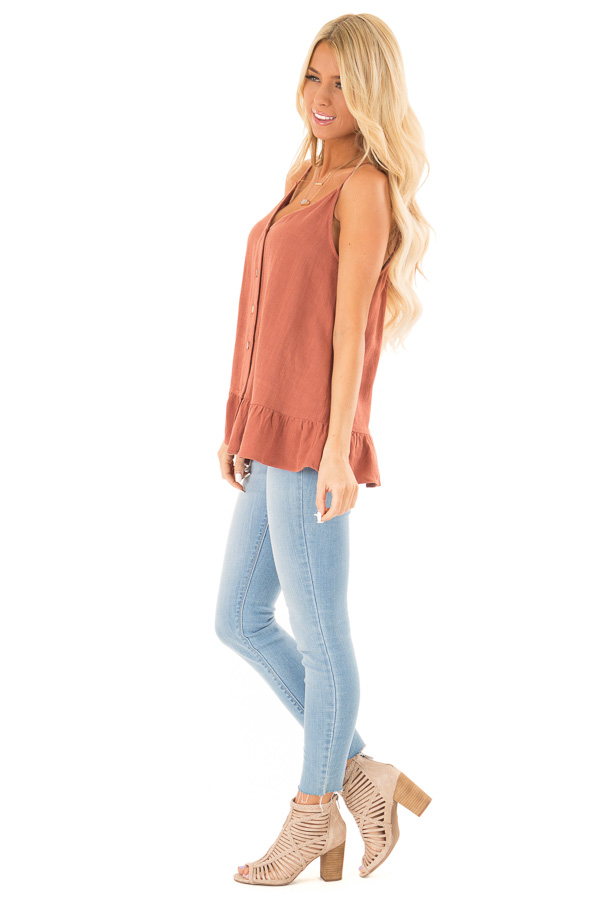 Rust Tank Top with Button Up Closure and Ruffle Trim side full body