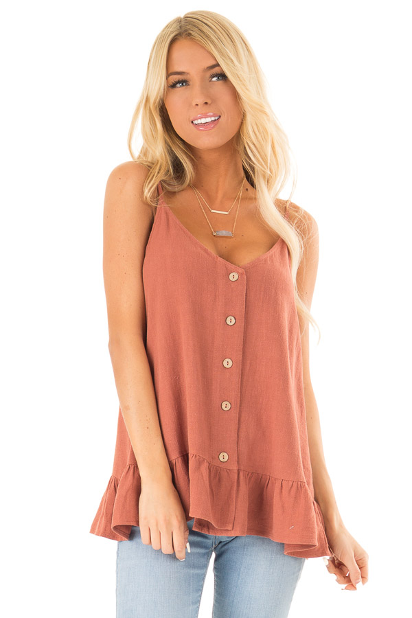 Rust Tank Top with Button Up Closure and Ruffle Trim front close up