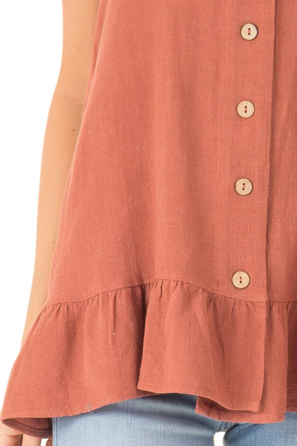 Rust Tank Top with Button Up Closure and Ruffle Trim detail