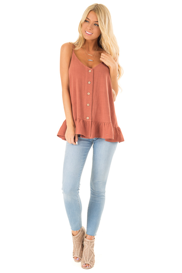 Rust Tank Top with Button Up Closure and Ruffle Trim front full body