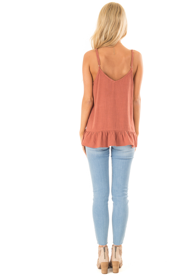 Rust Tank Top with Button Up Closure and Ruffle Trim back full body
