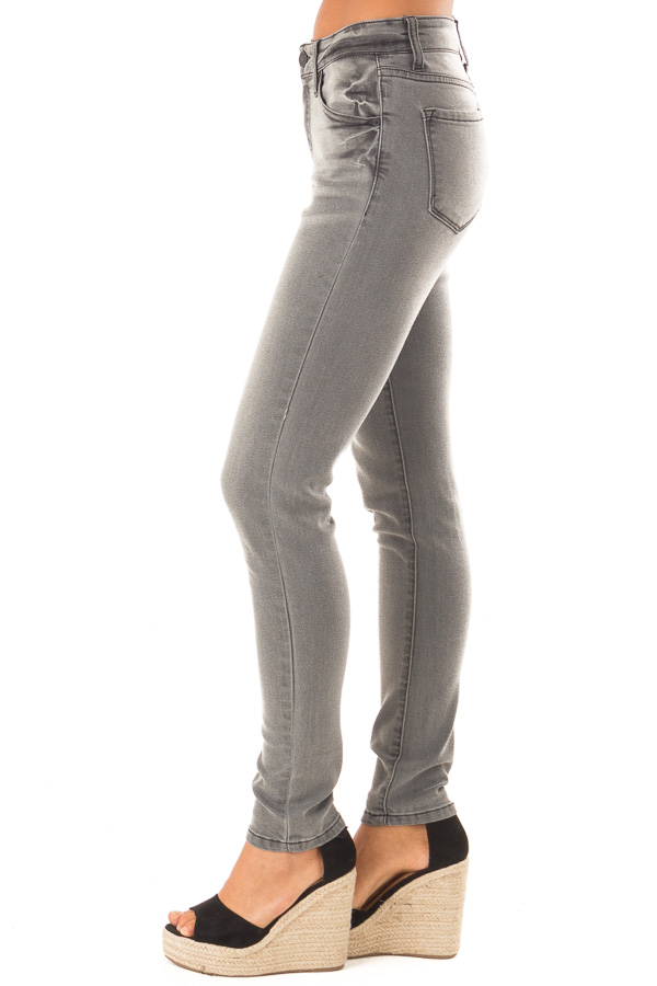 Charcoal Denim Mid Rise Ankle Skinny Jean side view