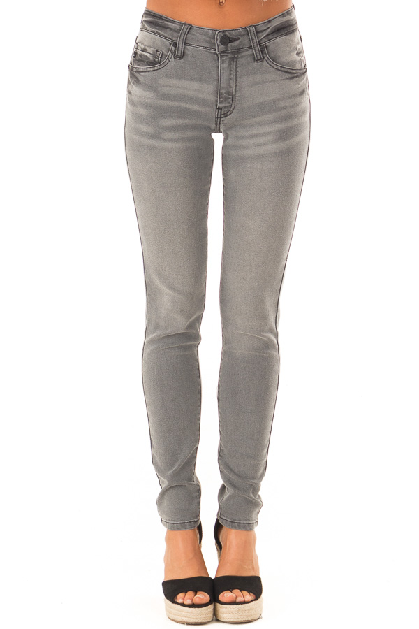 Charcoal Denim Mid Rise Ankle Skinny Jean front view
