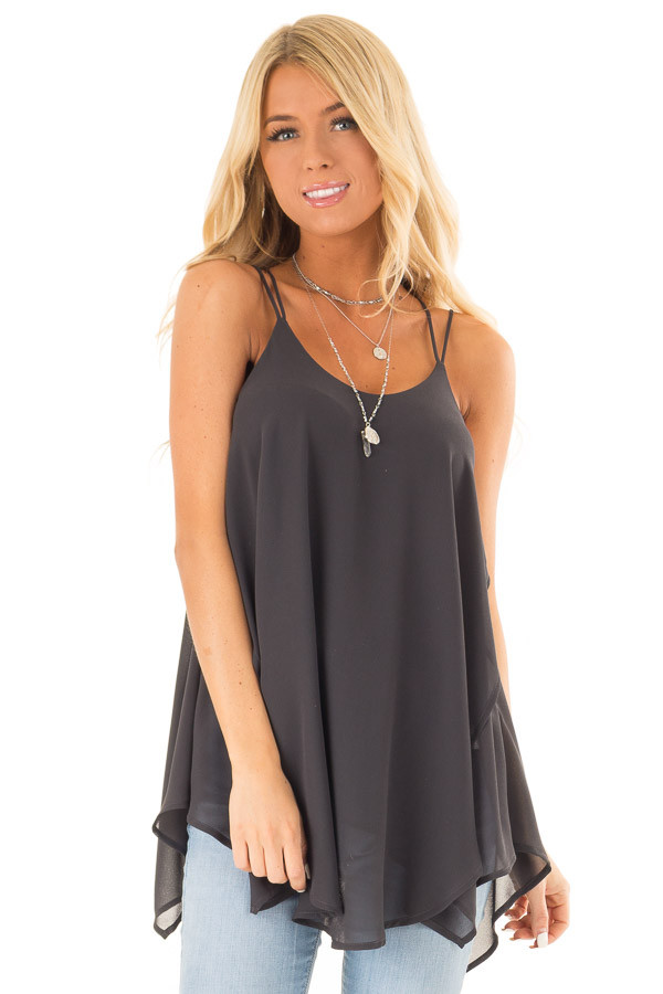 Charcoal Spaghetti Strap Tank with Double Strap Detail front close up