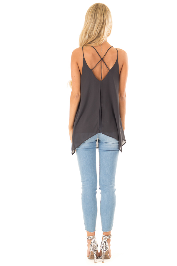 Charcoal Spaghetti Strap Tank with Double Strap Detail back full body