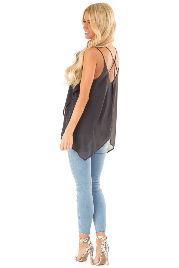 Charcoal Spaghetti Strap Tank with Double Strap Detail side full body