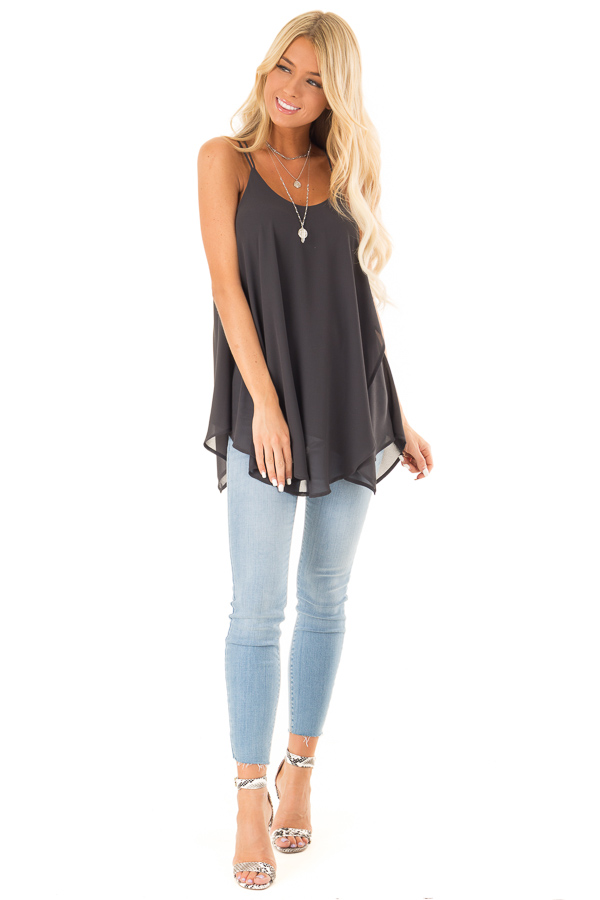 Charcoal Spaghetti Strap Tank with Double Strap Detail front full body