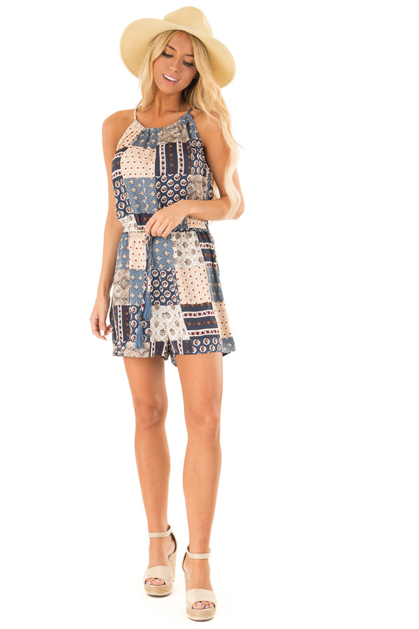 Dark Baby Blue Patterned Patch Romper with Tassel Tie Detail front full body