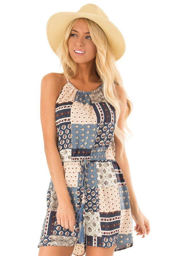 Dark Baby Blue Patterned Patch Romper with Tassel Tie Detail front close up