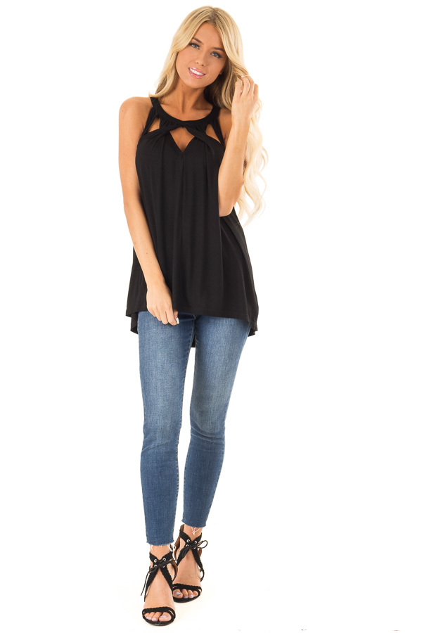 Obsidian Black Tank with Twisted Cutout Details front full body