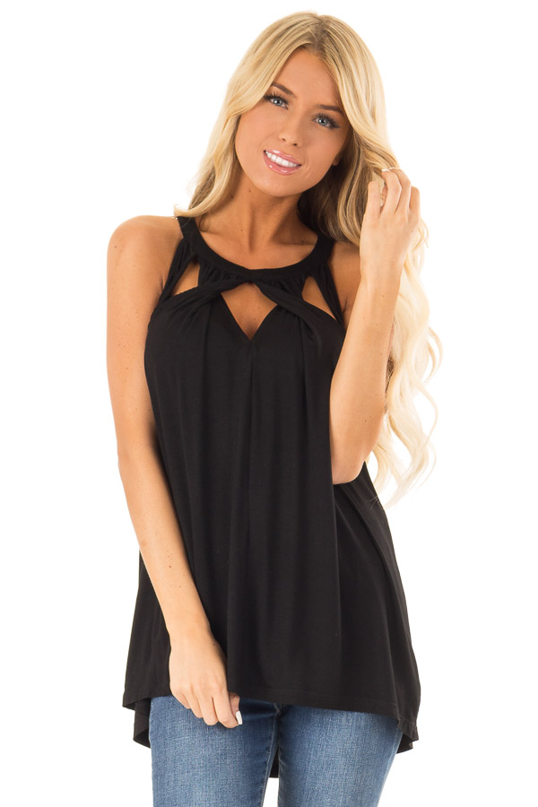 Obsidian Black Tank with Twisted Cutout Details front close up