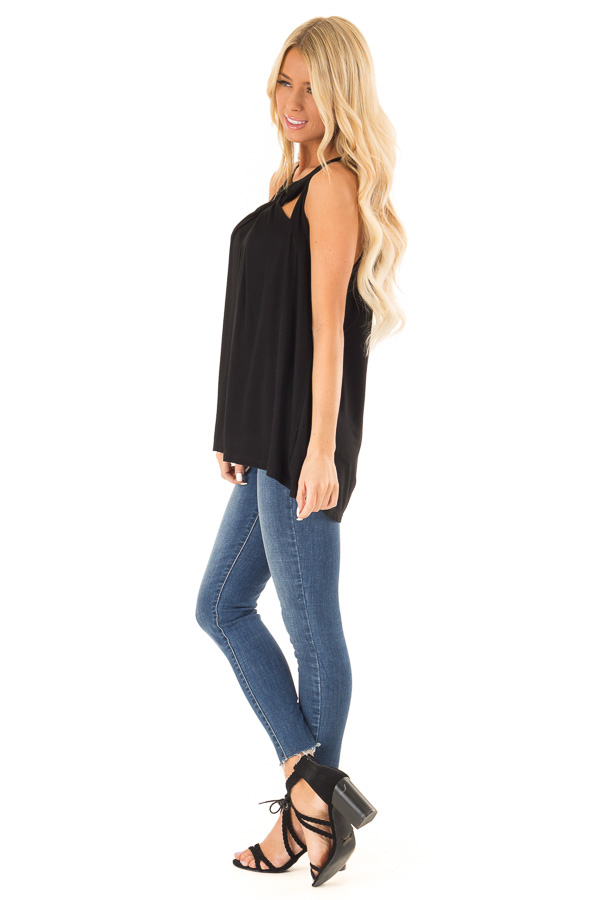 Obsidian Black Tank with Twisted Cutout Details side full body