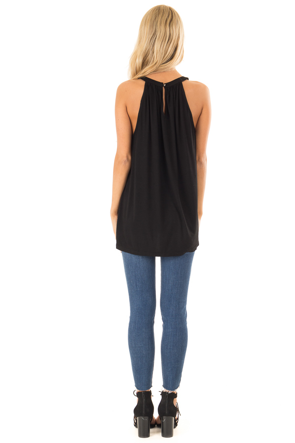Obsidian Black Tank with Twisted Cutout Details back full body