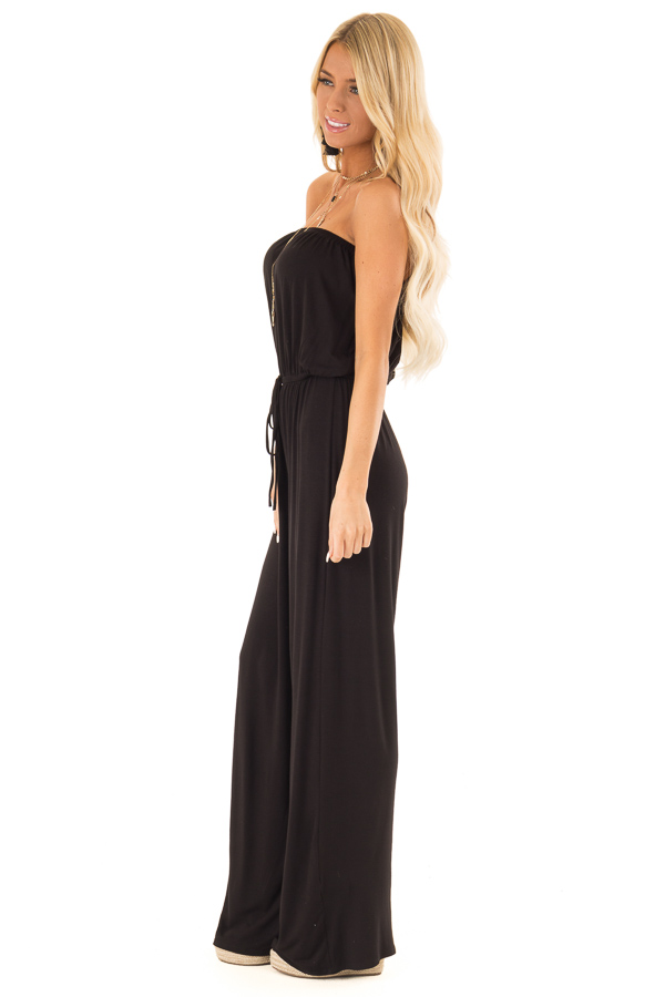 Obsidian Black Strapless Jumpsuit with Elastic Waist side full body