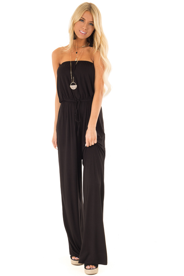 Obsidian Black Strapless Jumpsuit with Elastic Waist front full body