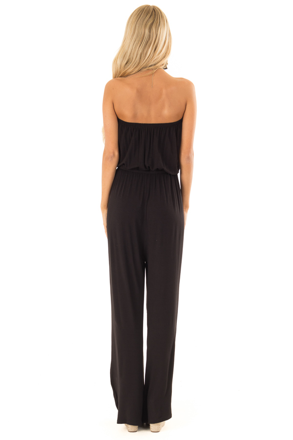 Obsidian Black Strapless Jumpsuit with Elastic Waist back full body