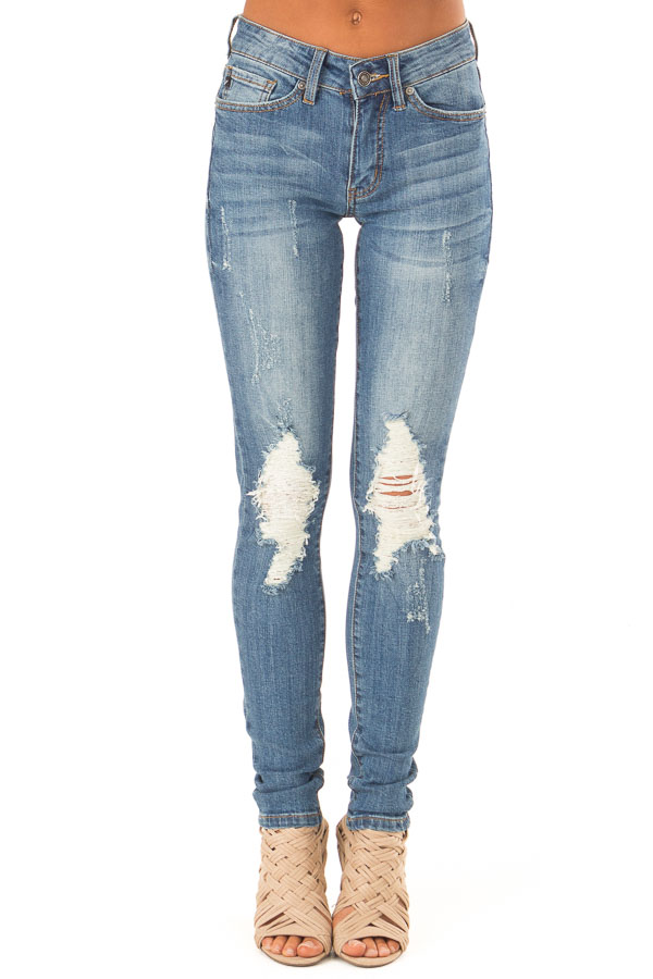 Medium Wash Skinny Denim Jeans with Distressed Details front full body