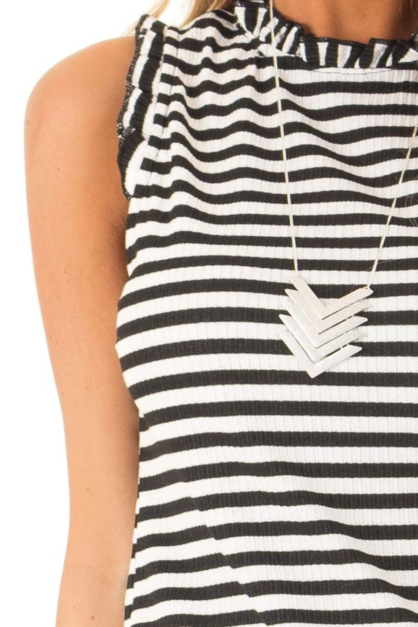 Ebony and Off White Striped Sleeveless Top with Ruffles detail
