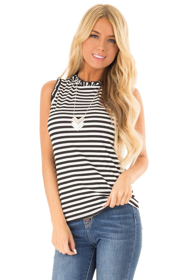 Ebony and Off White Striped Sleeveless Top with Ruffles front close up