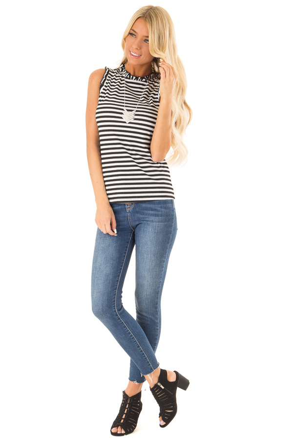 Ebony and Off White Striped Sleeveless Top with Ruffles front full body