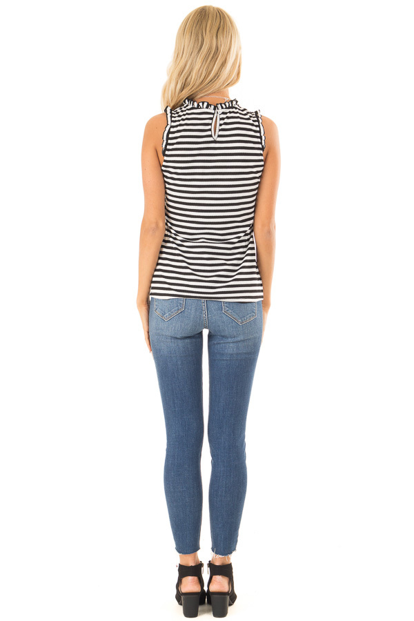 Ebony and Off White Striped Sleeveless Top with Ruffles back full body