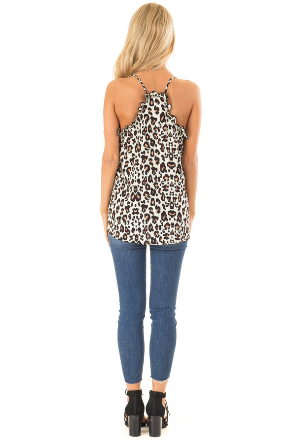 Cream Leopard Print Ruffle Tank Top with Front Tie Detail back full body