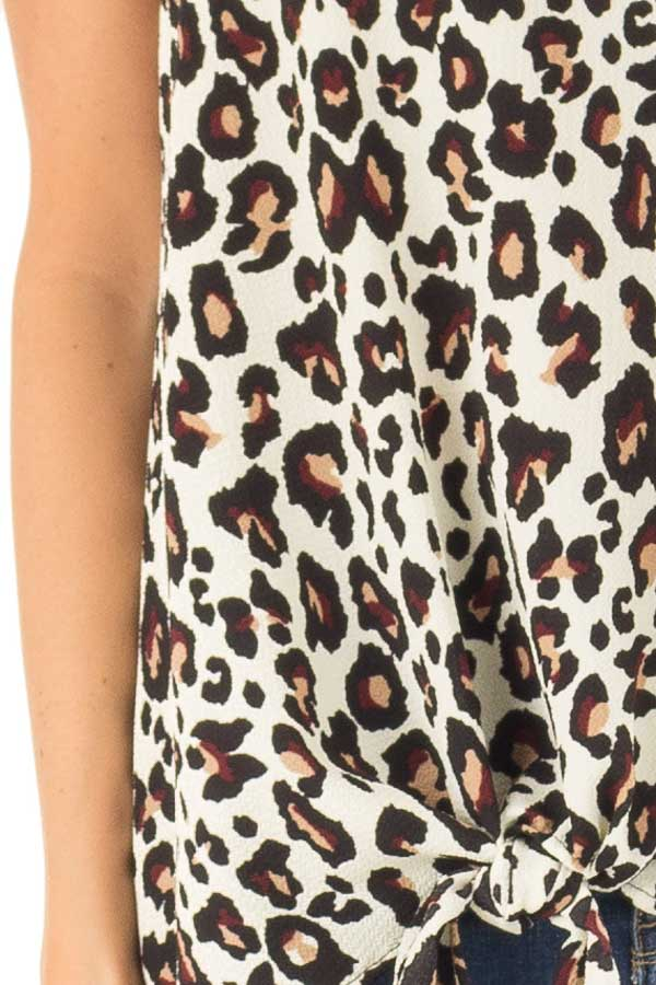 Cream Leopard Print Ruffle Tank Top with Front Tie Detail detail