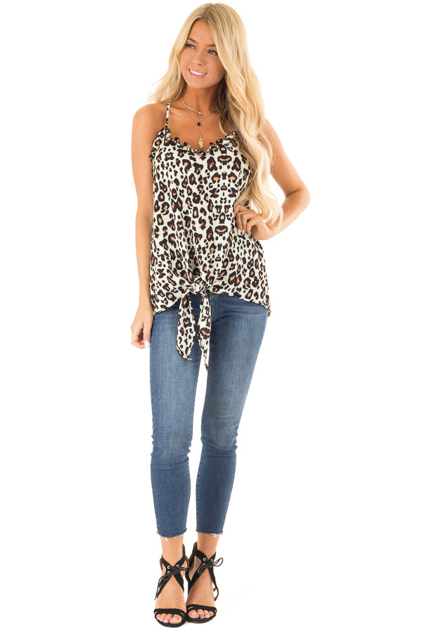 Cream Leopard Print Ruffle Tank Top with Front Tie Detail front full body
