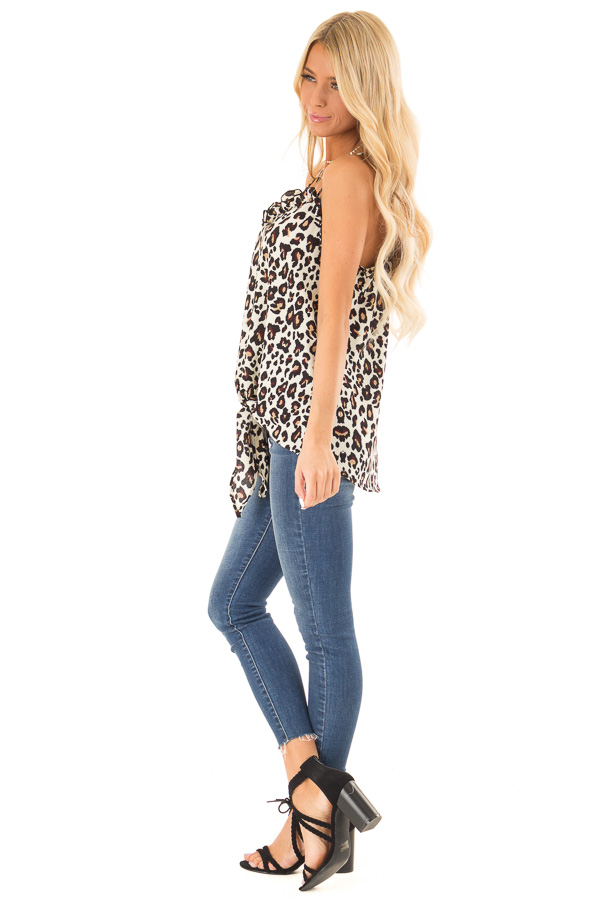 Cream Leopard Print Ruffle Tank Top with Front Tie Detail side full body