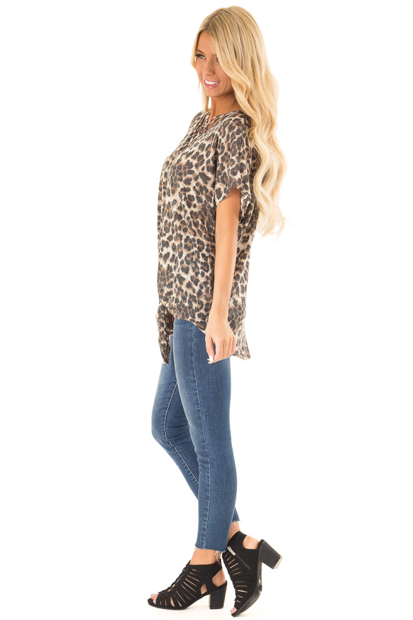 Mocha Leopard Print Top with Caged Neckline and Front Tie side full body