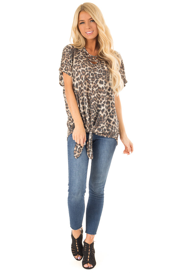 Mocha Leopard Print Top with Caged Neckline and Front Tie front full body