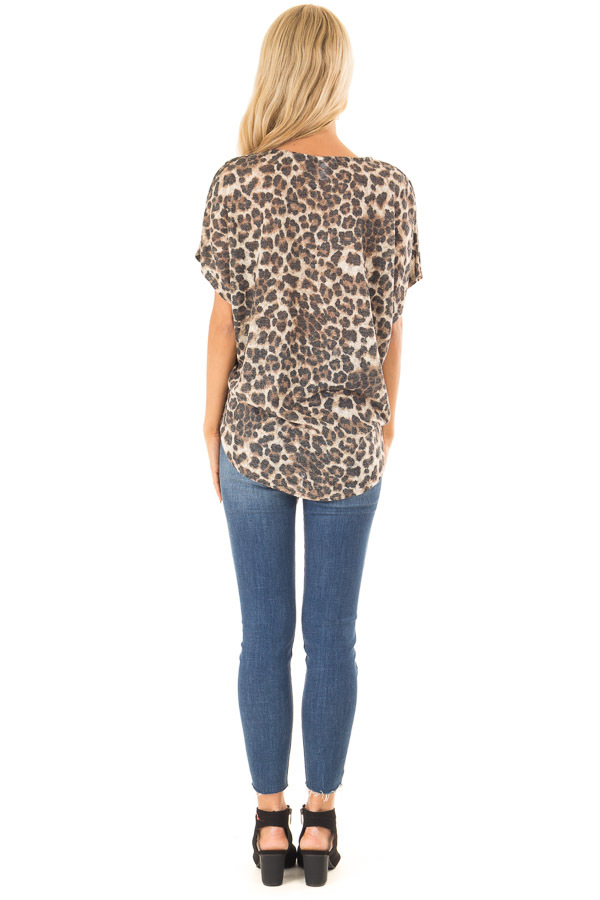 Mocha Leopard Print Top with Caged Neckline and Front Tie back full body