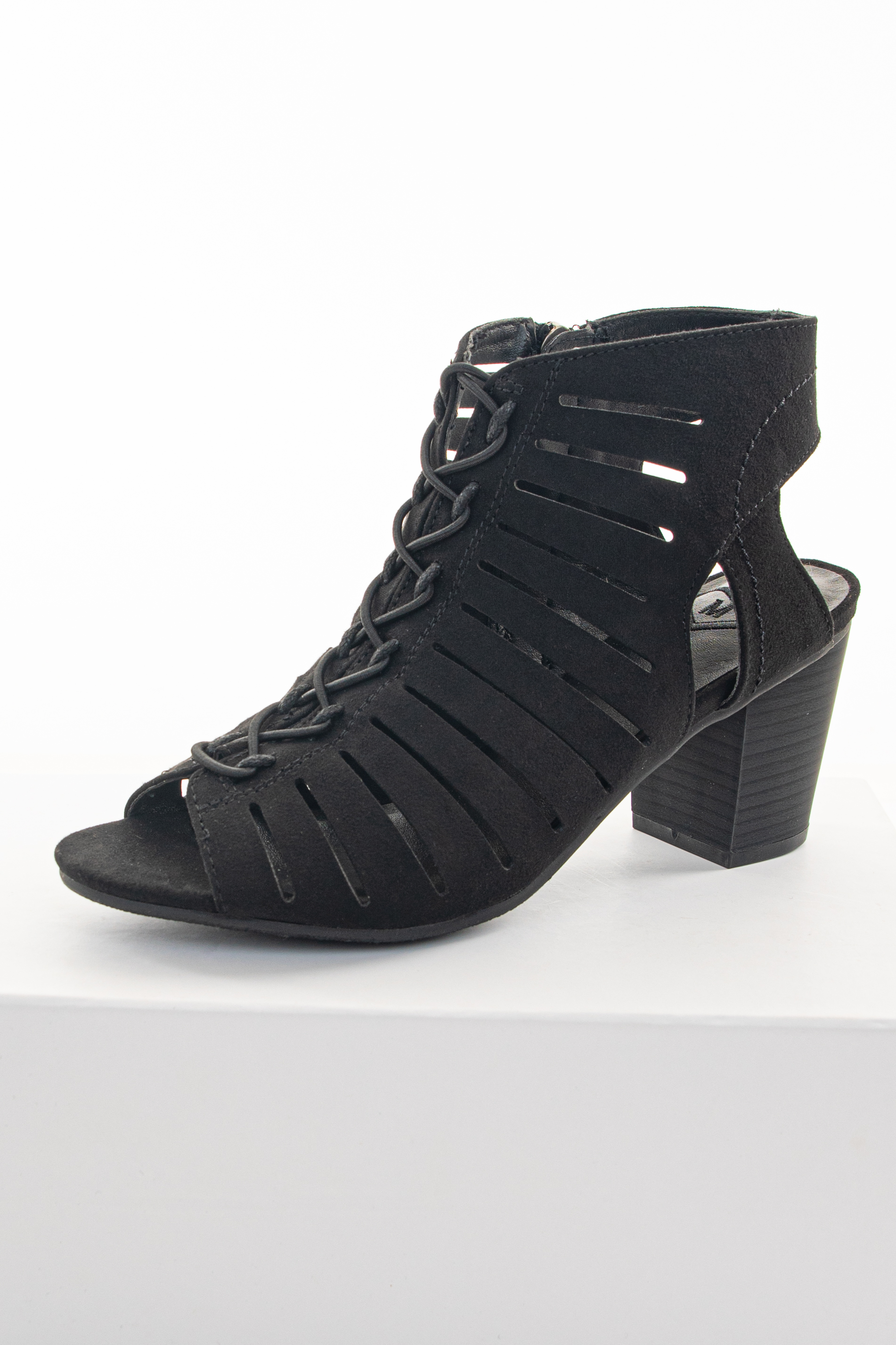 Obsidian Black Heeled Lace Up Sandal with Cutouts