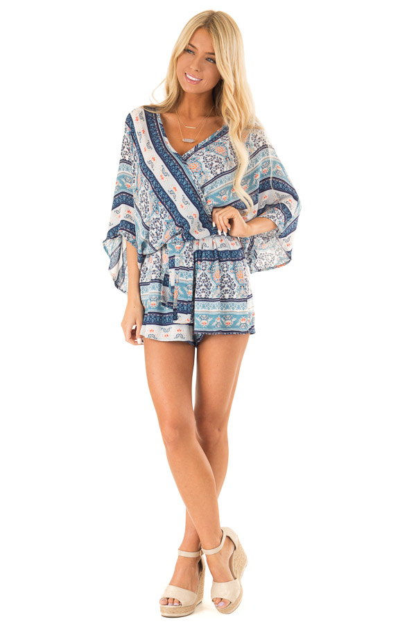 Navy Patterned Surplice Romper with Front Tie Detail front full body