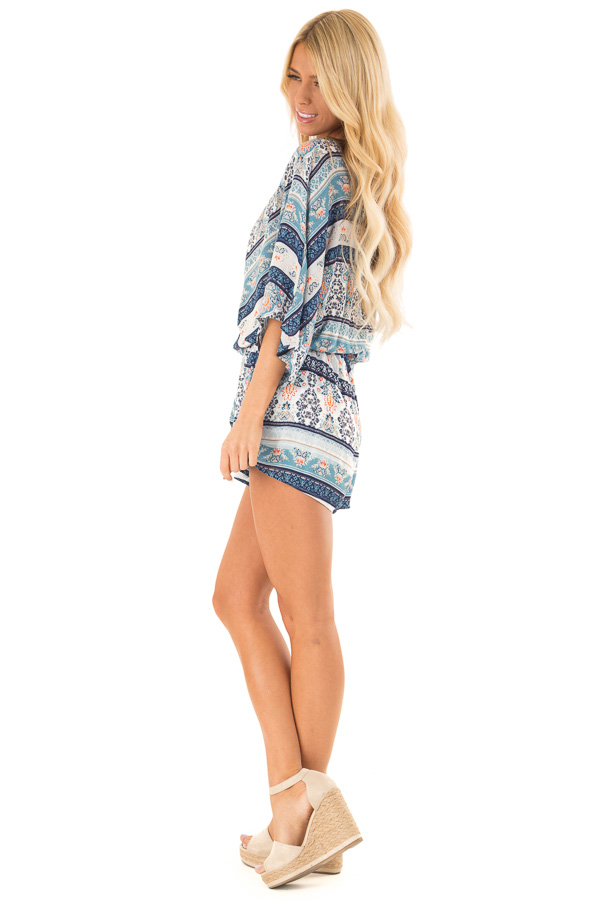 Navy Patterned Surplice Romper with Front Tie Detail side full body