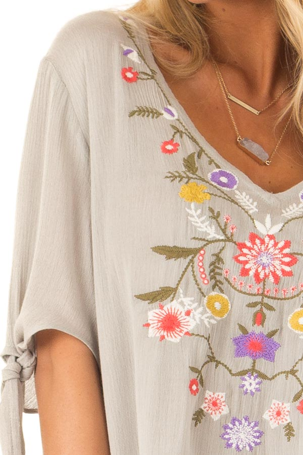 Antique Sage Short Sleeve Top with Floral Embroidery Detail detail