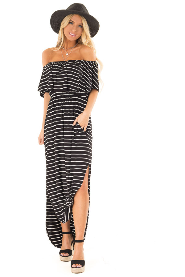 Jet Black and Ivory Striped Off Shoulder Maxi Dress front full body