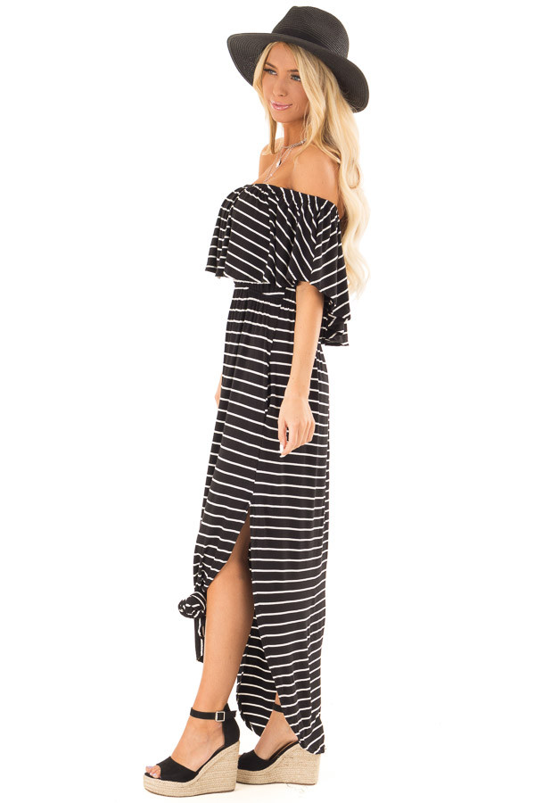 Jet Black and Ivory Striped Off Shoulder Maxi Dress side full body