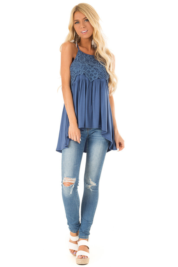 Chambray Blue Sleeveless Top with Crochet Lace Overlay front full body