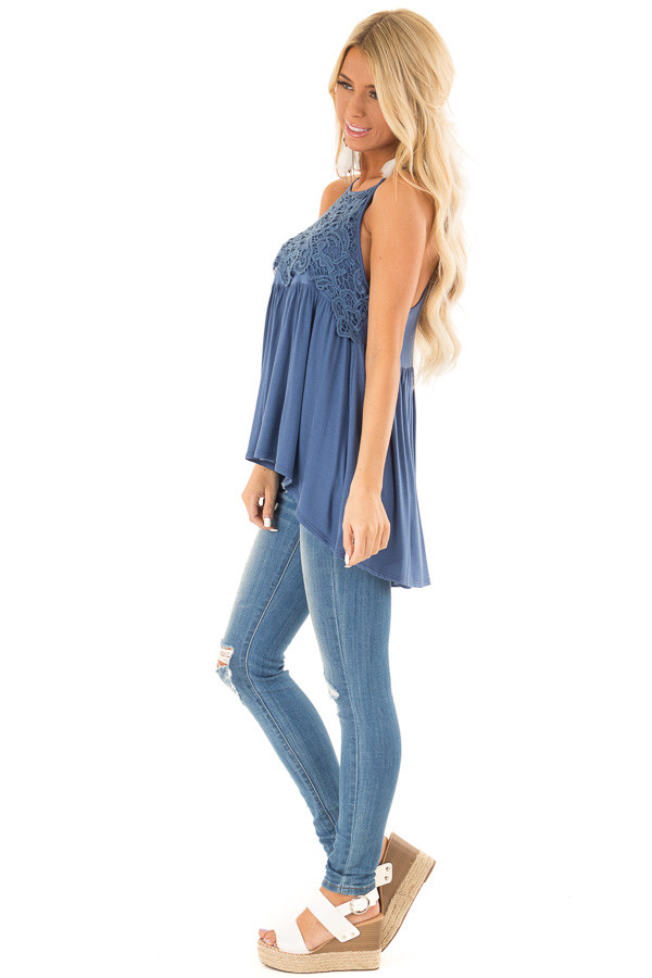 Chambray Blue Sleeveless Top with Crochet Lace Overlay side full body