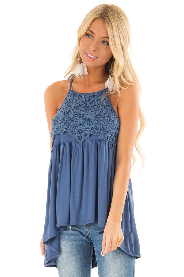 Chambray Blue Sleeveless Top with Crochet Lace Overlay front close up