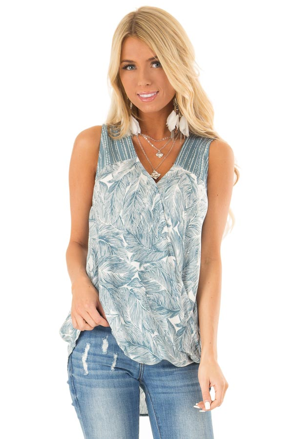 Dusty Blue Feather Print Surplice Tank Top with V Neckline front close up