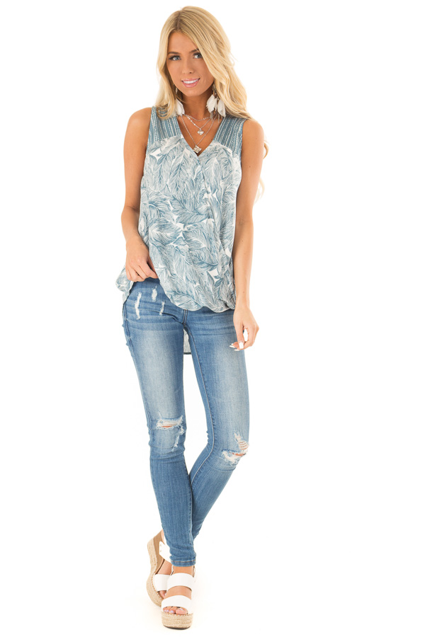 Dusty Blue Feather Print Surplice Tank Top with V Neckline front full body