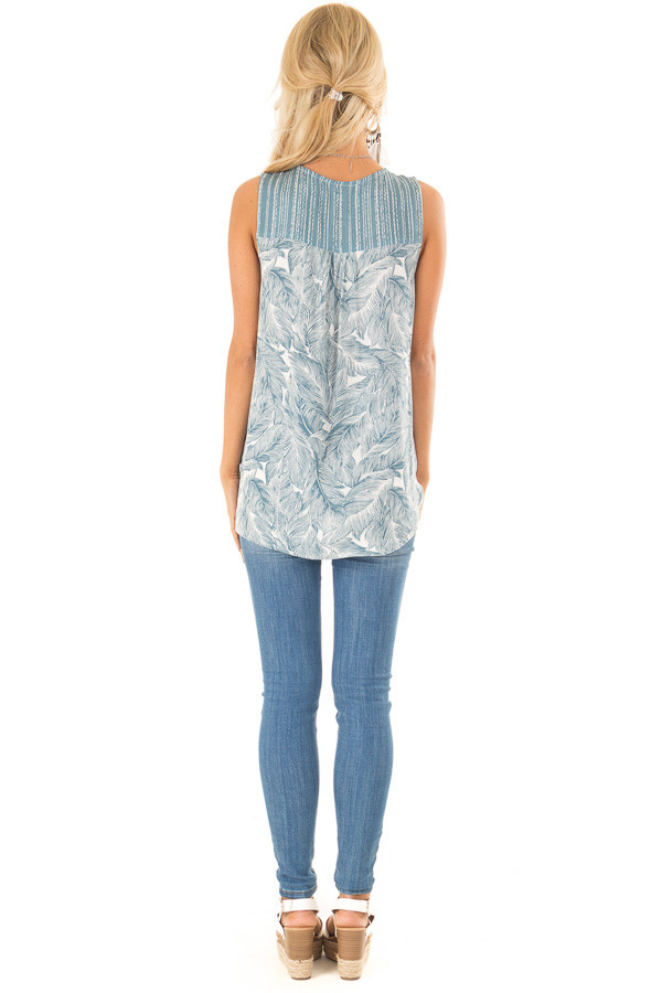 Dusty Blue Feather Print Surplice Tank Top with V Neckline back full body