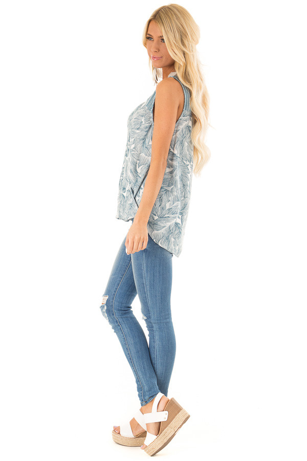 Dusty Blue Feather Print Surplice Tank Top with V Neckline side full body