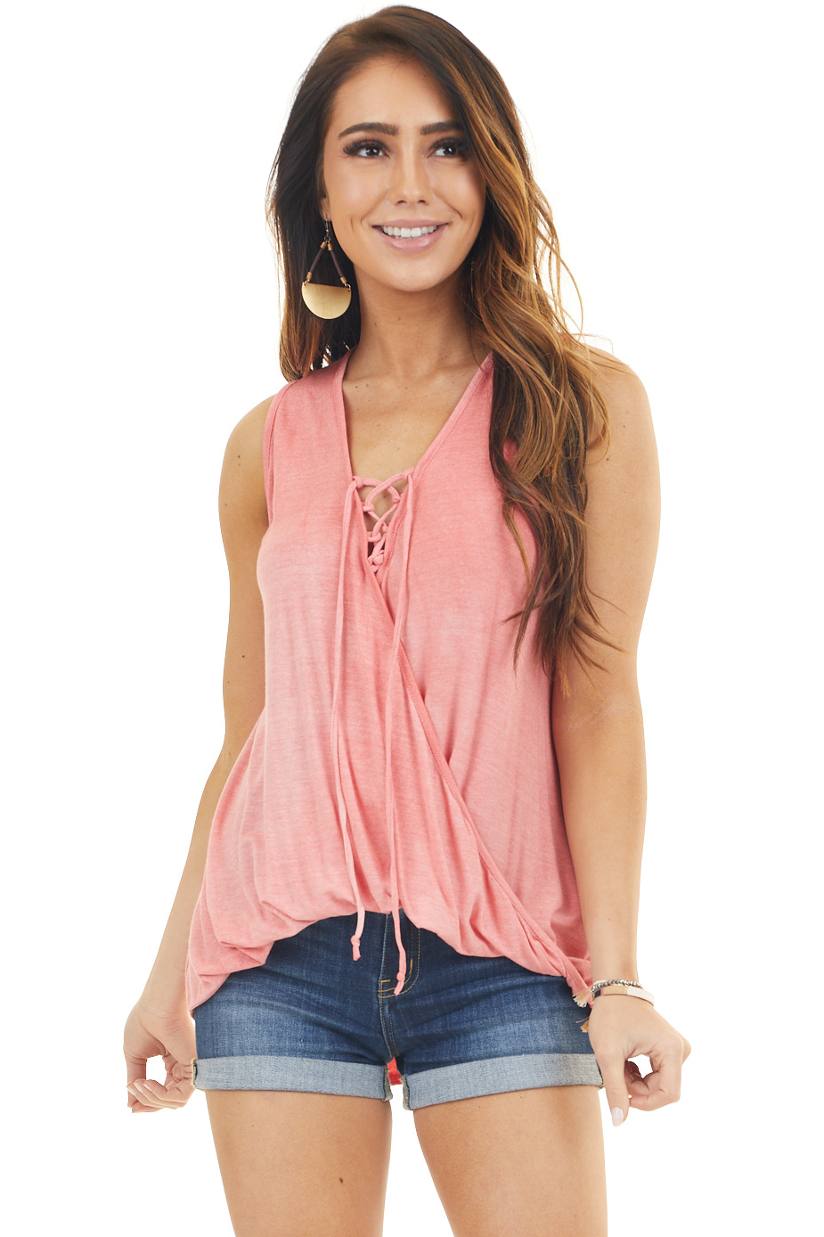Coral Sleeveless Crossover Bubble Hem Top with Lace Up Chest