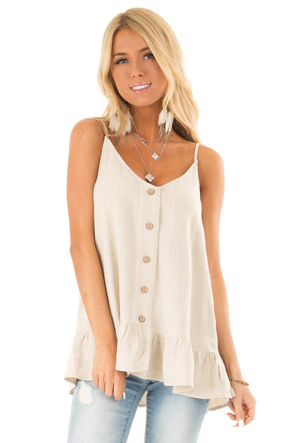 fc3ab16ee7ec79 Oatmeal Tank Top with Button Up Closure and Ruffle Trim - Lime Lush ...