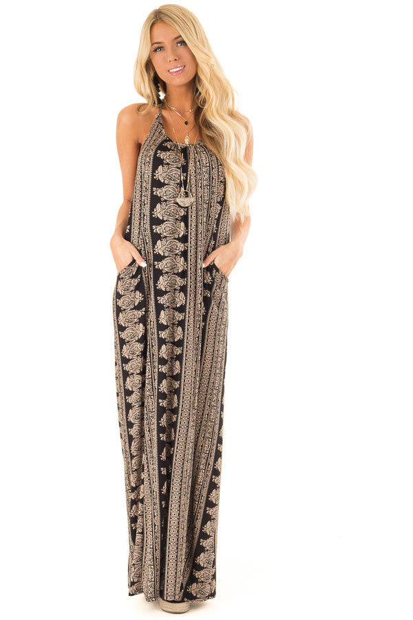Taupe and Black Boho Print Maxi Dress with Pockets front full body